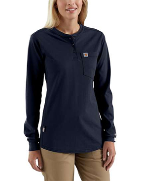 WOMEN'S FLAME-RESISTANT LONG SLEEVE COTTON HENLEY