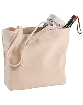 12 oz. Cotton Signature Zippered Shopper Tote