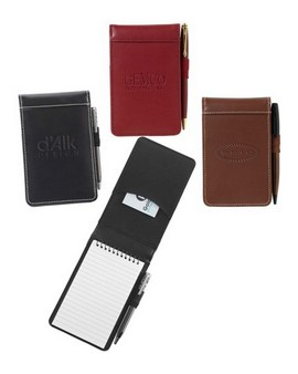 Accent™ Leather Refillable Spiral Memo Jotter