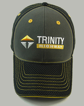 .Gray and Black cap with yellow contrast stitching