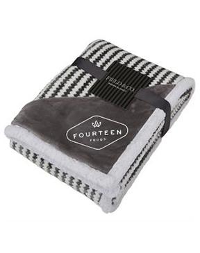 Chevron Striped Sherpa Blanket