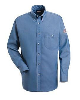 Button-Front Denim Dress Uniform Shirt
