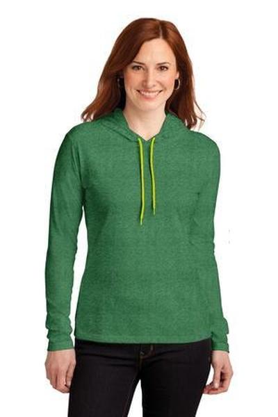 Anvil ®  Ladies 100% Ring Spun Cotton Long Sleeve Hooded T-Shirt