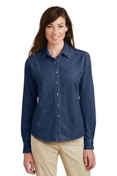 Port & Company ®  - Ladies Long Sleeve Value Denim Shirt