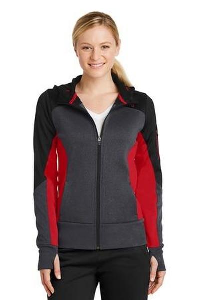 Sport-Tek ®  Ladies Tech Fleece Colorblock Full-Zip Hooded Jacket