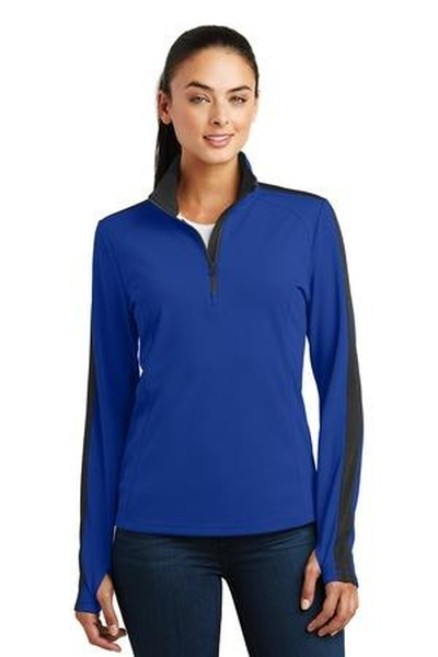 Sport-Tek ®  Ladies Sport-Wick ®  Textured Colorblock 1/4-Zip Pullover