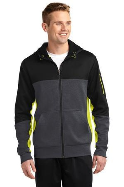 Sport-Tek ®  Tech Fleece Colorblock Full-Zip Hooded Jacket