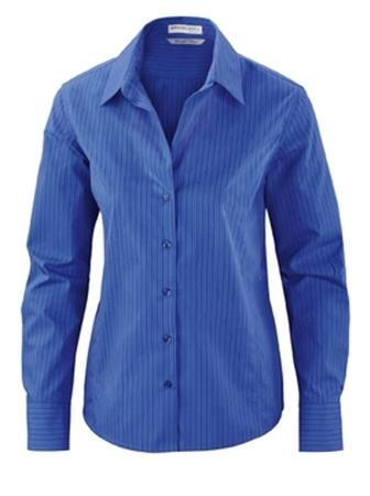 BOARDWALK LADIES' WRINKLE FREE-2-PLY 80'S COTTON STRIPPED TAPED SHIRT