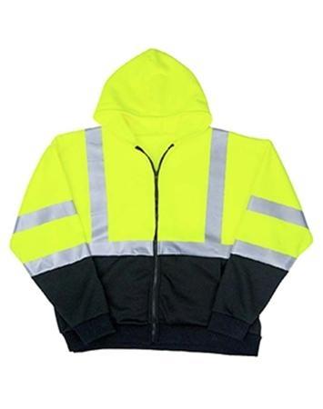 Class 3 Black Bottom Full-Zip Safety Sweatshirt