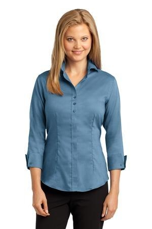 Red House® Ladies 3/4-Sleeve Nailhead Non-Iron Button-Down Shirt