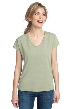 District Made® - Ladies Mini Stripe Dolman V-Neck Tee