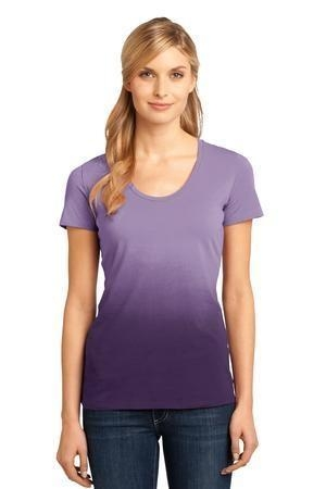District Made™ - Ladies Dip Dye Rounded Deep V-Neck Tee