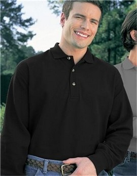 60/40 stain resistant pique long sleeve golf shirt.