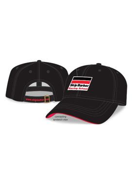 Black structured hat buckle back closure
